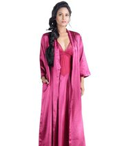 La Lingerie Satin Nighty-gown Set (Pink)