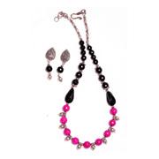 Buy Handmade Fuchisa Pink/Black Onyx Necklace Set Online