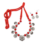 Buy Handcrafted Red Tassel Statement Jewellery Online