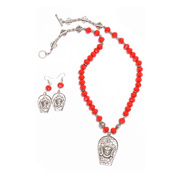 Buy Red Crystal German Silver Durga Necklace/Jewellery Set Online
