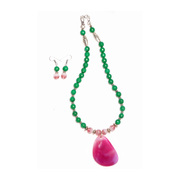 Handmade Pink/Green Onyx With Stone Pendent Necklace Set
