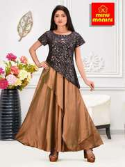 MINU Designer Beautiful Silk Crackle Printed Designer Gown
