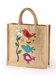 Finest Quality  Jute hand painted bag save birds manufacturer