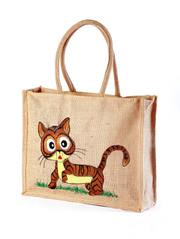 Finest Quality  Jute hand painted bag Elegant Look save animal