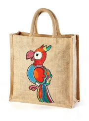 Jute hand painted bags One side paint Save birds manufacturer