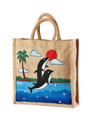 Jute hand painted bag Save planet manufacturer,  exporter