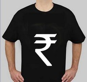 T-Shirts with recently introduced Indian Rupee Symbol on one side and